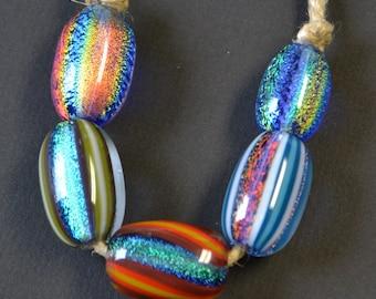 Handblown Glass Dichroic Beads - Wholesale - Variety 5 pack