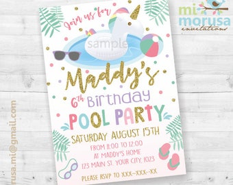 Unicorn float pool party, printable invitation, summer pool bash, no instant download file