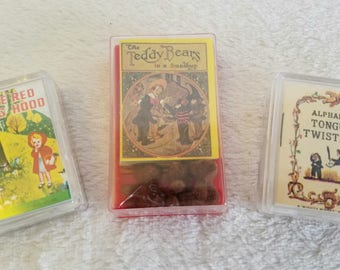 Three Vintage Miniture books - 3 mighty minature book sets, fairy tales, nursery rhymes,teddy bears