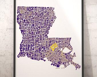 LSU Fan Inspired Art, LSU Map Print, Louisiana State University print - customized from my Louisiana typography map art