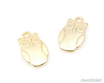Owl Pendant in Matte Gold / 11.0mm x 19.0mm / BMG348-P (4pcs)