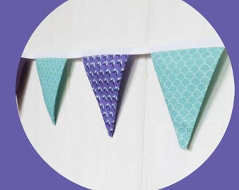 Garland 10 Mint green fabric flags pattern scales and purple.