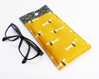 Fabric glasses case, quilted patterns basset hound dogs mustard and charcoal grey flowers inside
