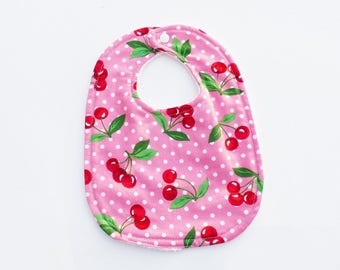 Bib baby 0-6 months pink and Red cherries, white Terry back pattern