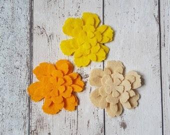 Yellow Felt Flowers, felt flowers, Spring Flowers, embellishments, felt applique, die cut flowers, felt supplies, Mother's Day, Easter