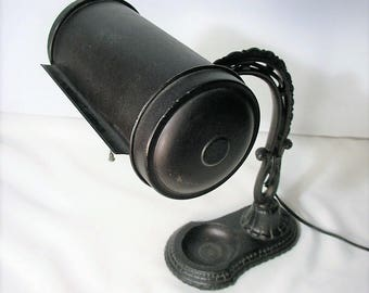 Vintage Cast Iron Desk Lamp - Industrial Early 20th Century