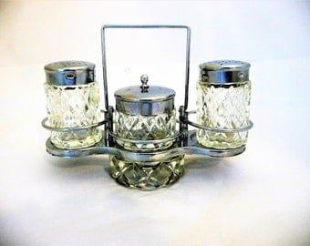 Vintage Cruet Condiment Set, Silver and Glass With a Carrier