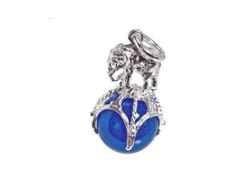 Sterling Silver Elephant On Ball Blue Agate Fob Charm For Bracelets