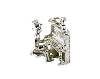 Sterling Silver Moving Honky Tonk Piano Player Charm For Bracelets