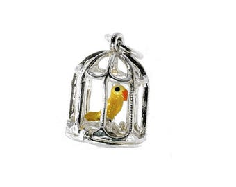 Sterling Silver Tweety Pie In Cage Charm For Bracelets