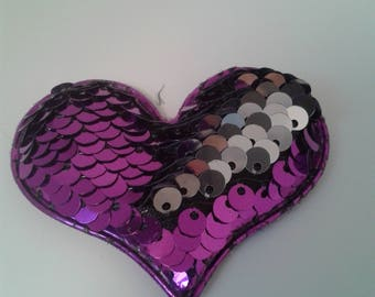 Purple/Silver Reversible Sequin Heart, Valentine's Day, Sweetest Day - Appliques - Hair bow centers - Headbands - Hair clips - Parties,