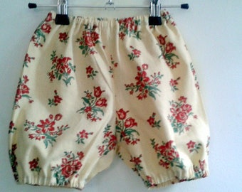 Bloomer or pants summer cotton BEIGE, red flowers 6/12 months