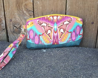 Clematis wristlet  | removable wrist strap | Tula Pink Butterfly Eden | teal cork bottom