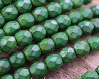6mm Olivine Snake Firepolished Round Czech Glass Beads, 4630, Olivine Snake Fire Polished 6mm Round Beads, 25 Beads