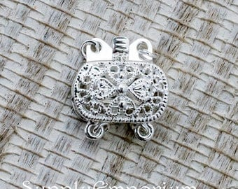 9x14mm Silver Box Clasp, 4708, Shiny Silver Plated Brass Box Clasp - 1 Clasp - Silver Rounded Rectangle Clasp