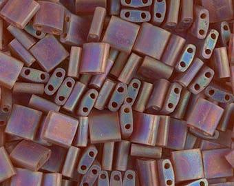 Matte Dark Topaz AB Miyuki Tila Two Hole Beads - 8 grams - Matte Dark Topaz AB Tila Beads, 1203