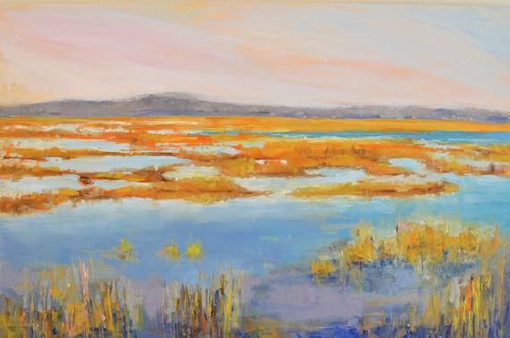 Marsh painting, Large landscape, Plum island, Marsh landscape, New England, 24 X 36, Original Oil painting, Horizontal, Dining room console