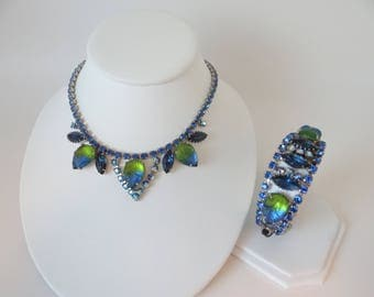 Stunning Vintage Juliana Blue Rhinestone and Blue and Green Molded Glass Necklace and Bracelet Set - D & E Necklace Bracelet Set - Rare