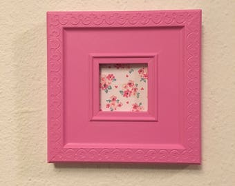 Picture Frame Upcycled Handpainted Pink , 3x3 Photo Frame , Square Frame , Nursery Decor , New Baby Gift