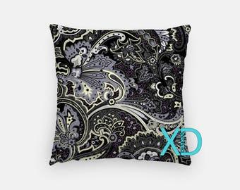 Gray Paisley Pillow, Paisley Pillow Cover, Floral Pillow Case, Black, Gray Pillow, Artistic Design, Home Decor, Decorative Pillow Case, Sham