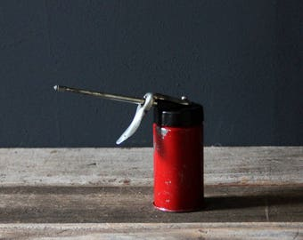 Small Vintage Red Rustic Industrial Oil Can
