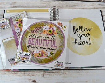 2016-17 August NOTES PAGE Kit, fits 2016-17 Erin Condren Life Planner, Vertical, Horizontal, Hourly Spiral bound, August planner stickers