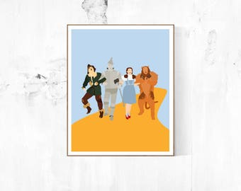 Wizard of Oz Minimalist Poster | Wizard of Oz Wizard of Oz Poster Movie Poster Emerald City Oz Dorothy Yellow Brick Road Glinda Movie Poster