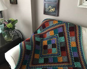 Crochet Granny Square Blanket Afghan Lap Wheelchair Throw Autumn Jewels