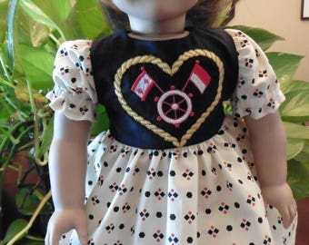 18 Inch Doll Clothes, Handmade Embroidered Nautical Dress,  Fits American girl, other 18 Inch Dolls, Puff Sleeves