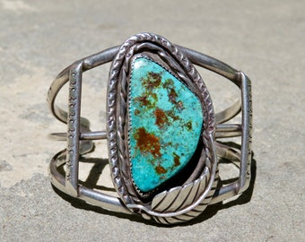 Vintage Turquoise and Silver Cuff, Native American Turquoise Jewelry, Navajo Turquoise and Sterling Bracelet, Old Pawn Turquoise Bracelet