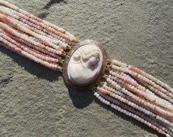 Cameo,Cameo Bracelet,Cameo Jewelry,Repurposed Cameo,Pink Peruvian Opal,Multi Strand Gemstone Bracelet,Opal Jewelry,Opal Bracelet,Cameo Cuff