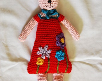 Crochet plush rabbit Josephine and her pretty flowers
