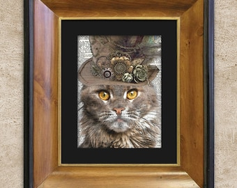 Dictionary Print: Diligent Maine Coon Cat in Top Hat, Steampunk Cat Art Print