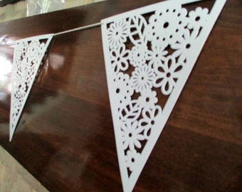 Wedding Banner Wedding Bunting Wedding Photo Prop Photo Background Wedding Decoration White Paper Lace Bunting Paper Garland Nursery Decor