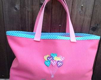 Kids Personalized Pink Canvas Tote with Balloon Hearts Design