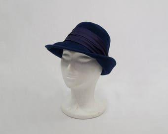 Navy Blue Wool Hat