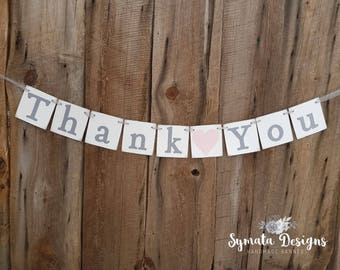 Thank you heart banner - photo prop - wedding decoration- Blush pink heart- grey lettering - lower case letters - romantic - IATY138
