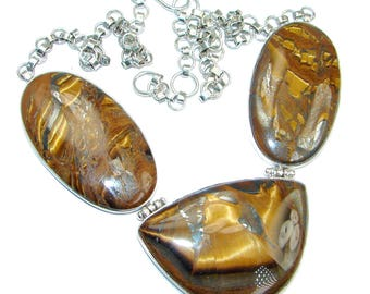 Tiger's Eye Sterling Silver Necklace - weight 50.30g - dim 1 1 4 inch - code 9-lis-16-61