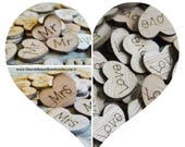 Summer SALE 300 Wood Heart Confetti Combo Pack Love Wood Hearts, Wood Confetti Engraved Love Hearts- Rustic Wedding - Table Decorations- Mr