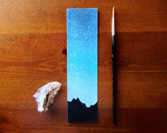 Starry Sky Bookmark, Night Sky Watercolor, Watercolor Landscape, Mountain silhouette, Watercolor bookmark, Painting bookmark, Stars Bookmark