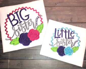 Big Sister/Little Sister Embroidered Shirts