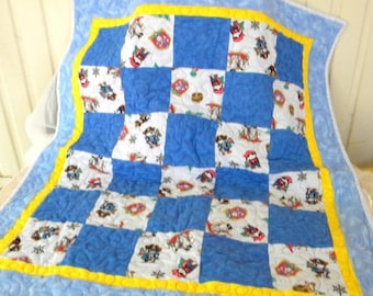 Summer Sale Handmade Flannel Baby Quilt, Pirates, Pirate Ships, Blue, Yellow, Red, Black