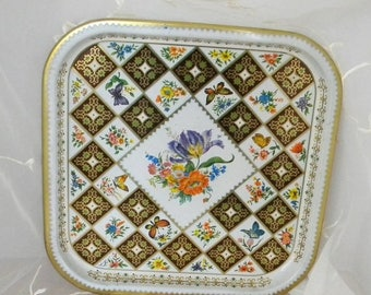 "Xmas in July Sale Vintage Daher 14""  x 14 ""Floral Tin Tray, Checkered, Black, Gold, White Flowers"