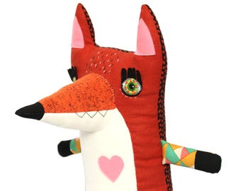 Big plush animal red fox handmade with embroidery