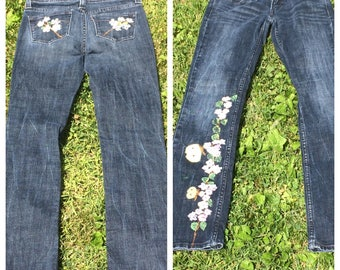 "Hand Painted Jeans  Levi's wearable art, ""Cherry Blossom"" Painted On Levi's size 1M Demi Curved"