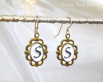 Letter S Earrings Hand Stamped Vintage Letterpress Monogram in Vintage Brass Settings