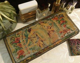 Shabby Romantic Soap Tin Box, Cottage Chic, Antique, Folk Song Toilet Soap, Vintage Vanity, PATINA, Japan, Grecian Women, c 1910 Pretty Lady