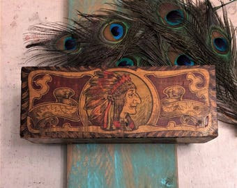 Antique Wood Box Native American Indian Chief Theme, Headdress, Art Nouveau c 1910, Wooden Trinket Keepsake Box