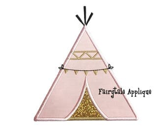 Digital Machine Embroidery Design -  Teepee Applique