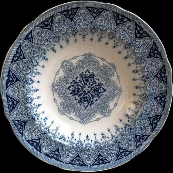 "Antique 1800s, ""ALHAMBRA"" Rare Blue and White Transferware, 10 1/8"" Pasta Bowl, W. T. Copeland Spode, Ironstone, Serving"